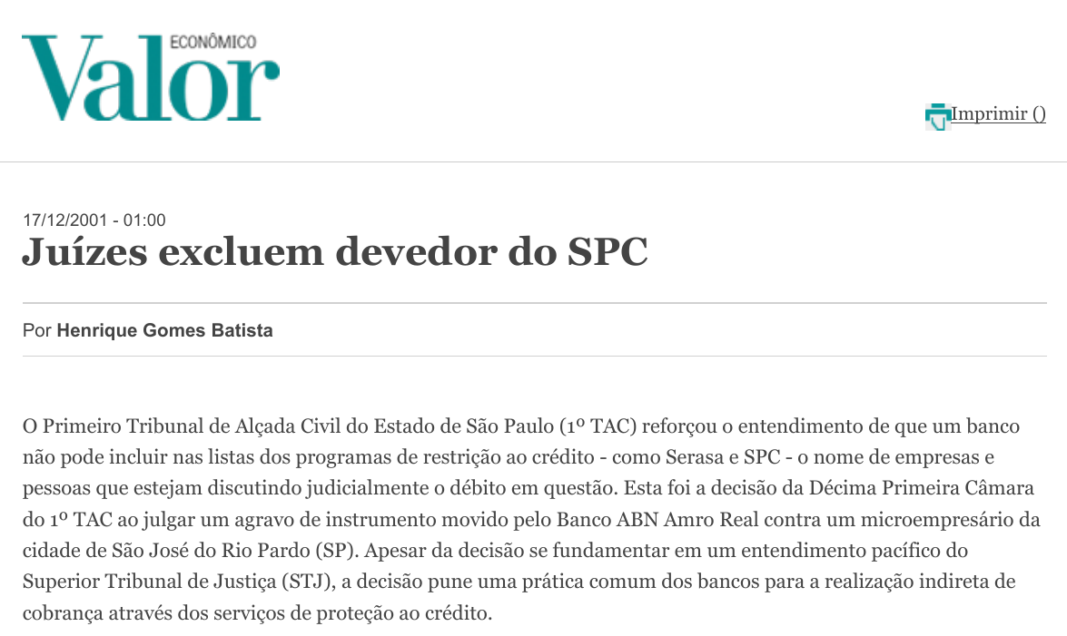 Juízes excluem devedor do SPC