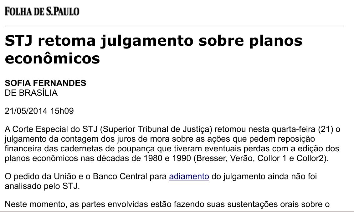 STJ retoma julgamento sobre planos econômicos