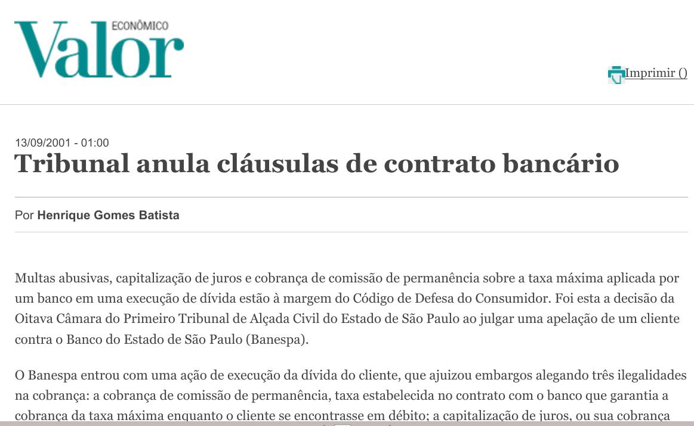 Tribunal anula cláusulas de contrato bancário
