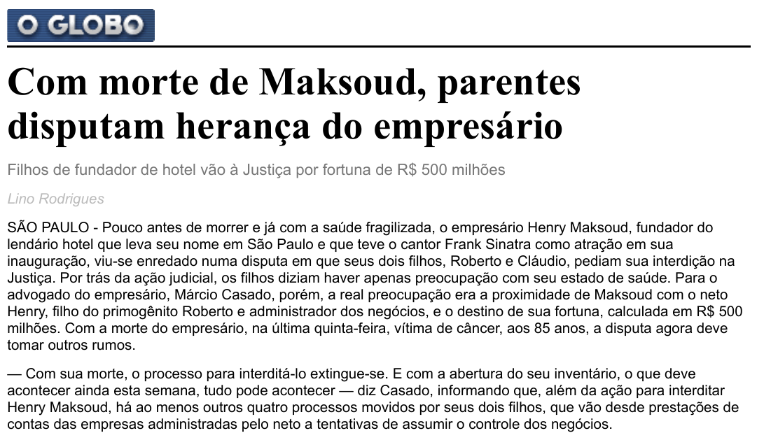 Com morte de Maksoud, parentes disputam herança do empresário